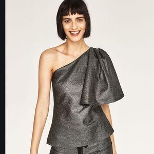 Zara Metallic one shoulder blouse XS